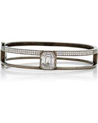 AS29 - Medium 16.5cm Black Gold And Illusion Diamond Bangle - Lyst