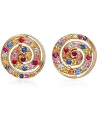 She Bee - 14k Yellow Gold And Sapphire Button Studs - Lyst