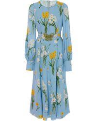 Andrew Gn - Floral-print Silk-georgette Midi Dress - Lyst