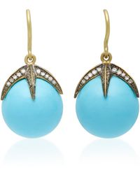 Sylva & Cie - Starlight 18k Gold, Turquoise And Diamond Earrings - Lyst