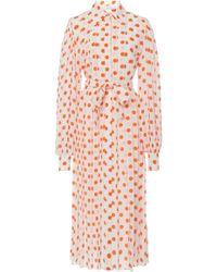Emilia Wickstead - Anatola Pleated Polka Dot Silk Shirt Dress - Lyst