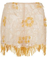 Anna Sui - Lotus Lower Embroidered Mesh Shorts - Lyst