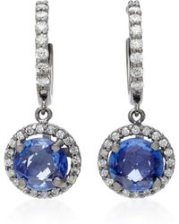 Colette | Planet 18k White Gold, Diamond And Sapphire Earrings | Lyst