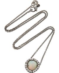 Kimberly Mcdonald - One-of-a-kind Crystal Shell Opal Pendant With Diamonds Set In 18k White Gold With Black Rhodium - Lyst