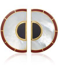 Monica Sordo | Brujo Half Orbit 24k Gold-plated Brass Mother Of Pearl Earrings | Lyst