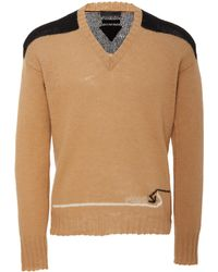 Prada - Logo-embroidered Wool V-neck Jumper - Lyst