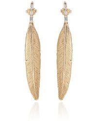 Luis Morais - X Large Long Enameled 10k Yellow Gold Feather Diamond Baguette Earring - Lyst