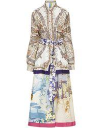 Rianna + Nina - Exclusive Printed Silk-satin Shirt Dress - Lyst
