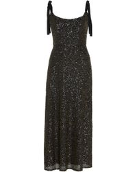 17d9e707 Alex Perry Veronica Satin Crepe Sequin Sleeve Gown in Black - Lyst