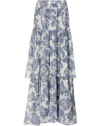 LoveShackFancy - Andrea Tiered Floral-print Cotton And Silk-blend Maxi Skirt - Lyst