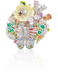 Anabela Chan | M'o Exclusive White Butterfly Bouquet 18k White Gold Vermeilring | Lyst