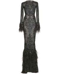 Zuhair Murad - Beaded And Feather-trimmed Silk Gown - Lyst