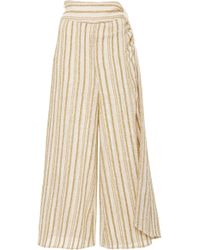 Rosie Assoulin - Draped Striped Cotton-blend Voile Culottes - Lyst