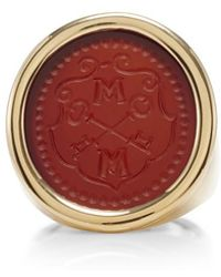 Asha - Bespoke Shield Initial Ring - Lyst