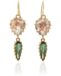 LFrank - Diamond Slice And Tourmaline Drop Earrings - Lyst