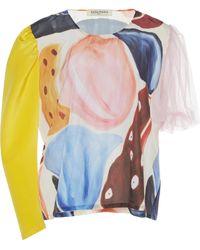 Tata Naka - Contrast Sleeve Top - Lyst