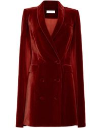 Marina Moscone - Double Breasted Velvet Cape - Lyst
