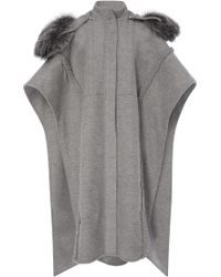 Prabal Gurung Braid Embroidered Hooded Poncho With Silver Fox Fur
