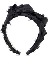 Lela Rose - Black Feather Tucked Fabric Headband - Lyst