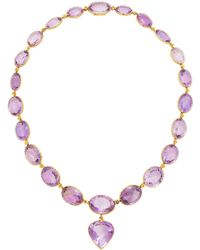 Fred Leighton - Set Of Antique Amethyst Riviere Necklace And Pendant Earrings - Lyst