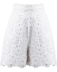 ANOUKI - White Flower Lace Shorts - Lyst