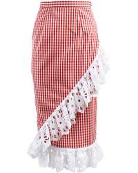 ANOUKI - Plaid Ruffled Skirt - Lyst