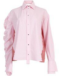 ANOUKI - Pleated Ruffle Combo Shirt - Lyst
