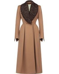 Ulyana Sergeenko Demi Couture | Lamb Fur Collar Flared Coat | Lyst