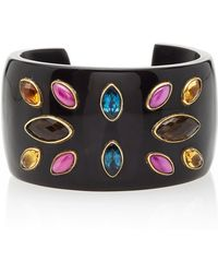 Ashley Pittman Michezo Turquoise-Studded Dark Horn Bangle v0xYy6KkQB