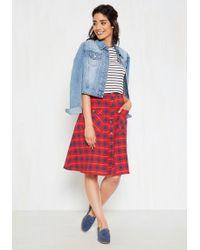 Mata Traders - Swap Meet Sweetheart Midi Skirt In Crimson Plaid - Lyst