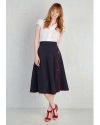 Rock Steady/steady Clothing In - Jitterbug Reiteration Midi Skirt In Navy - Lyst