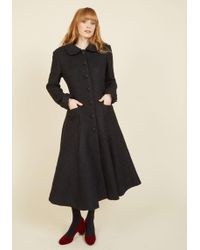 Collectif Clothing - Elegance Of The Era Coat In Noir - Lyst