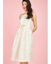 Appareline - Penchant For Opulence A-line Dress In Ivory Daisies - Lyst