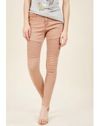 ModCloth - Added Edge Skinny Jeans In Dusty Rose - Lyst