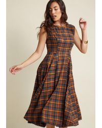 Collectif Clothing - Intriguing, Always A-line Midi Dress In Harvest Plaid - Lyst