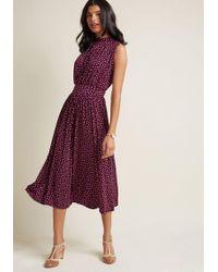 ModCloth - Off To Ottawa Midi Dress In Purple Dots - Lyst