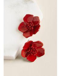 ModCloth - Prettiest Petals Earrings In Red - Lyst