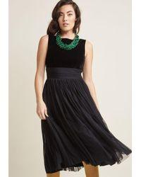 Banned | Velvet Midi Dress With Mesh Skirt | Lyst