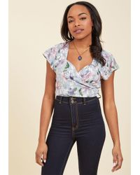 Collectif | Sun, Sip, Smile Wrap Top In Sketched Blossom | Lyst