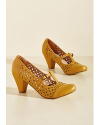 Chelsea Crew - Opting For Intrigue T-strap Heel In Mustard - Lyst