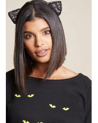 ModCloth - Right Black Cat Ya Lace Headband - Lyst