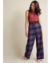 Collectif - Life's Work Wide Leg Trousers In Plaid - Lyst