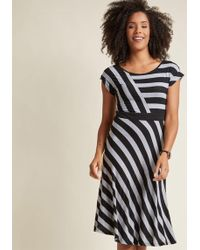 ModCloth - An Afternoon With You A-line Dress In Grey - Lyst