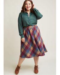 ModCloth - Sunday Sojourn Midi Skirt In Warm Plaid - Lyst