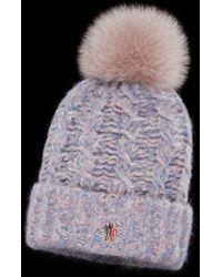 Lyst - Moncler Grenoble Fur-pompom Wool Beanie Hat in White 201ecb88c70e