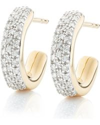 Monica Vinader - Gold Vermeil Fiji Mini Diamond Hoop Earrings - Lyst