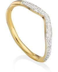 Monica Vinader - Riva Diamond Wave Stacking Ring - Lyst