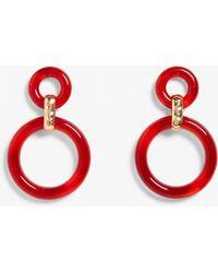 Monki - Red Hoop Earrings - Lyst