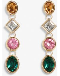 Monki - Multi Coloured Rhinestone Earrings - Lyst