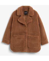 Monki - Oversized Faux Shearling Coat - Lyst